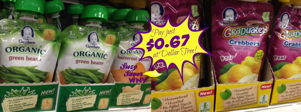 Gerber Organic or Grabbers pouches Dollar Tree Deal suzy saver wny