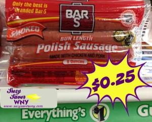 Bar-S Polish Sausage Dollar Tree Deal $0.25 Suzy Saver WNY 2016