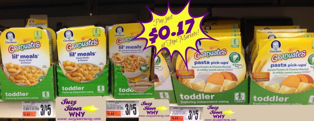 Gerber Graduates Lil Meals or Pasta Pickups Tops Markets $0.17 Deal Suzy Saver WNY
