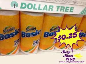 Bounty Basic Paper Towels Dollar Tree Deal $0.25 Suzy Saver WNY