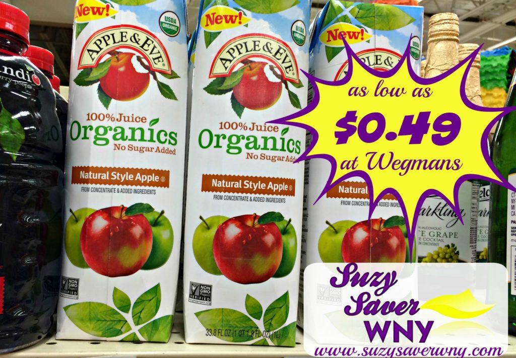 Apple & Eve Organics 100 Juice Wegmans Deal $0.99 Suzy Saver WNY