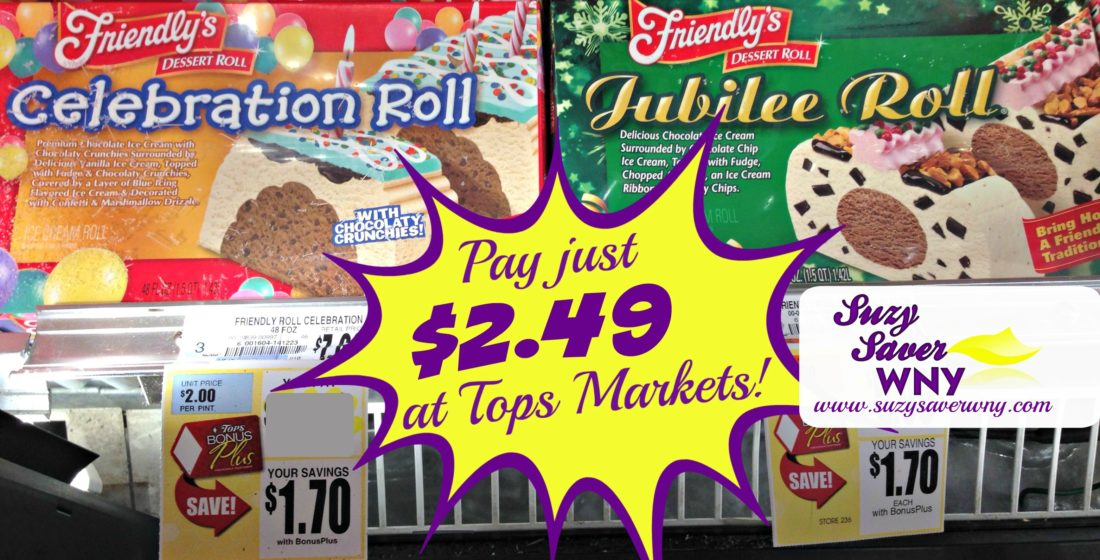 Friendly's Ice Cream Cake Celebration Jubilee Roll Tops Markets Sale Deal $2.49 Mother's Day Dessert Suzy Saver WNY