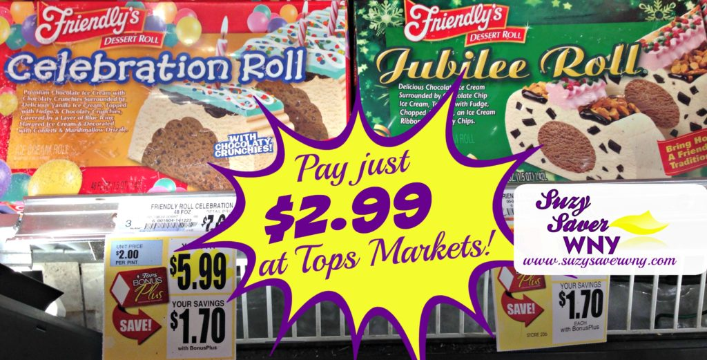 Friendly's Ice Cream Cake Celebration Jubilee Roll Tops Markets Sale Deal $2.99 Mother's Day Dessert Suzy Saver WNY