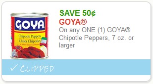 graphic regarding Chipotle Printable Coupon called Unusual Goya Peppers Coconut Discount coupons + Wegmans Tops Marketplaces