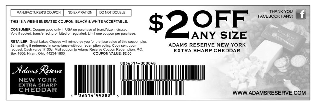 picture regarding Ogx Printable Coupons named Adams E-book Cheese fb-coupon-$2 -
