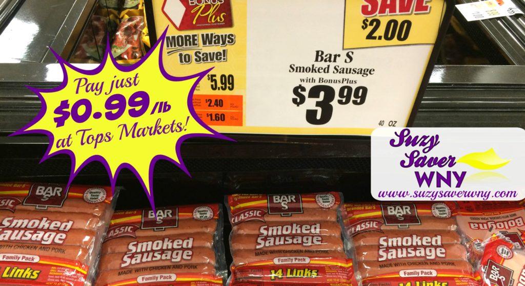 Bar-S Smoked Sausage Tops Markets Deal $0.99 Suzy Saver WNY