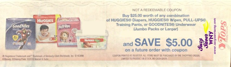 Huggies-Pull-ups-Goodnites-Diapers-Wipes-Tops-Markets-Catalina-Offer-June July 2016