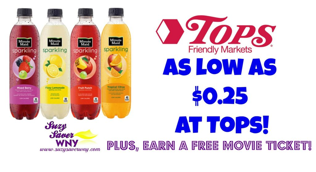 Minute Maid Sparkling Water Tops Markets Gas Box Deal $0.25 Suzy Saver WNY FREE MOVIE TICKET