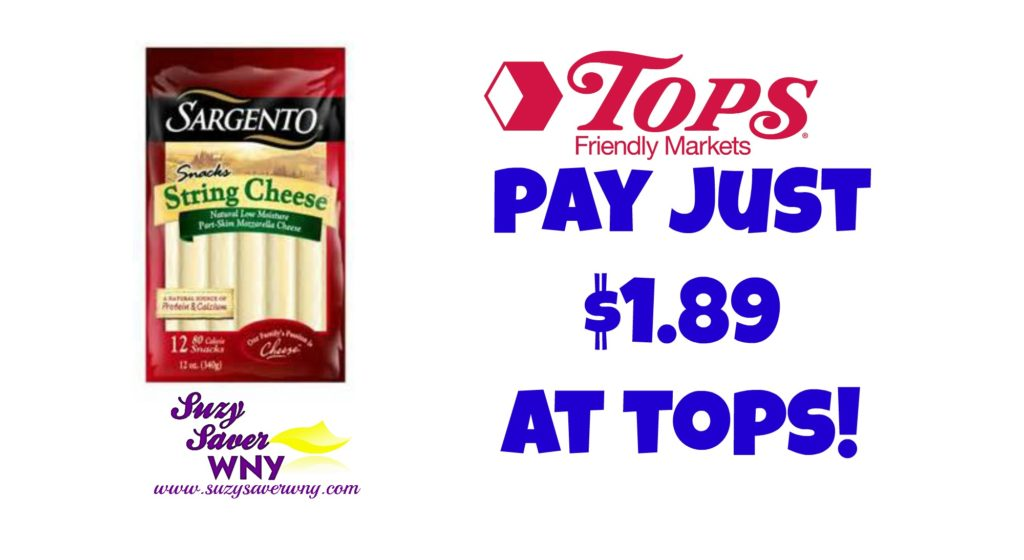 photo about Sargento Printable Coupon called Tops Marketplaces: $1.89 Sargento String Cheese -