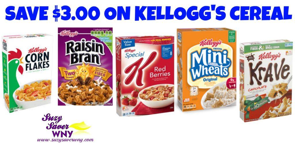 Kellogg's Cereal $3.00 Printable coupon Deal