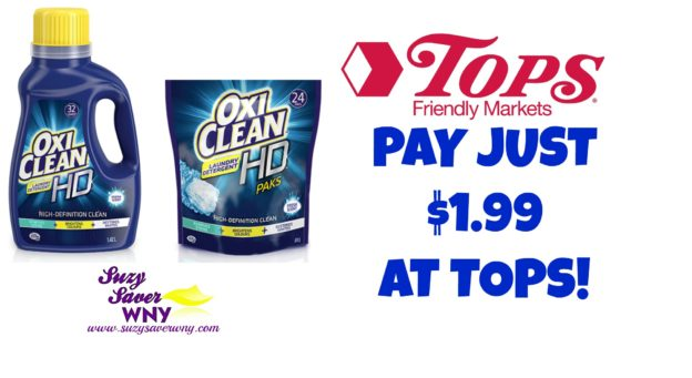 Tops Markets Oxi Clean HD Laundry Detergent Printable coupon deal $1.99 Suzy Saver WNY