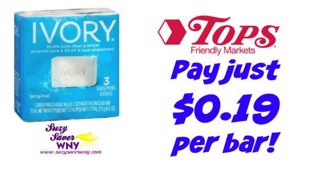 Ivory Bar Soap 3 pack Tops Markets Deal $0.19 Suzy Saver WNY