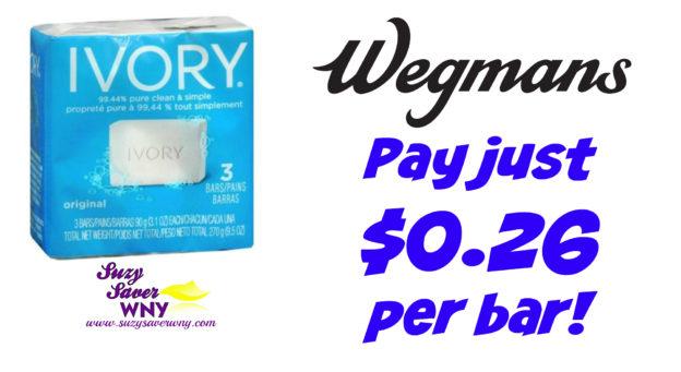 Ivory Bar Soap 3 pack Wegmans Deal $0.26 Suzy Saver WNY