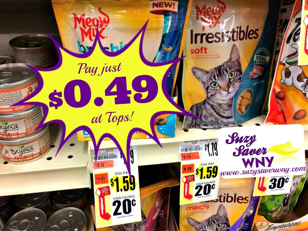image about Meow Mix Coupon Printable titled Meow Merge Irresistibles Cat Snacks printable coupon $0.49