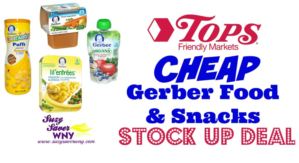image relating to Gerber Printable Coupons identified as Tops Marketplaces: Gerber Kid Foods *Inventory UP Specials* -