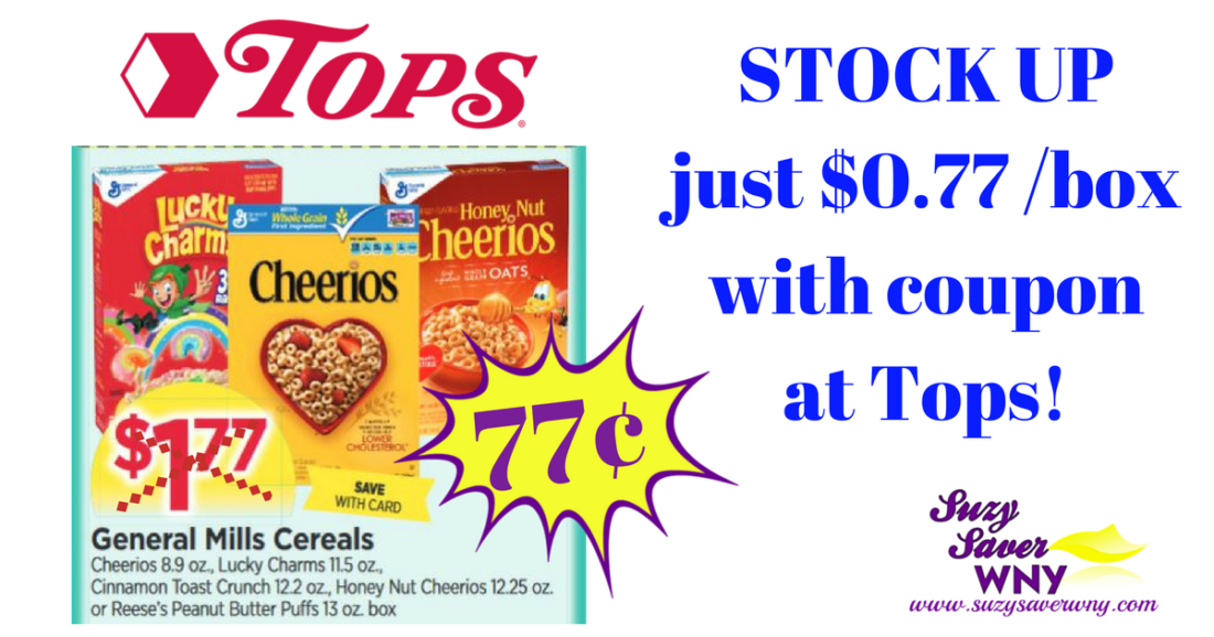 graphic relating to General Mills Printable Coupons titled Over-all Mills Cereal Package $0.77 Tops Marketplaces Printable