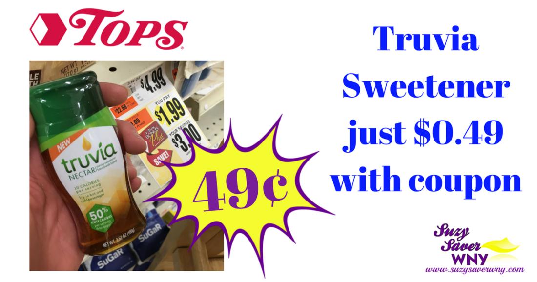 graphic regarding Truvia Coupon Printable known as Tops Marketplaces: $0.49 Truvia Sweetener -