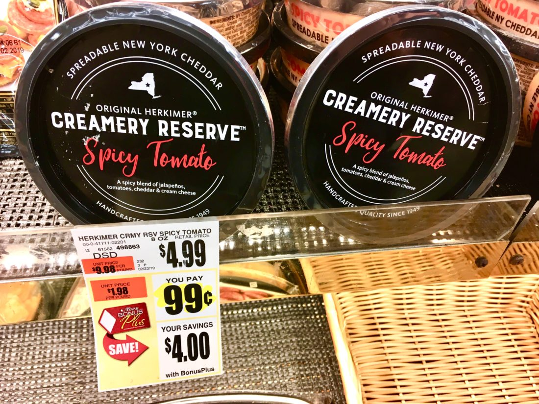Creamery Reserve Spicy Tomato Cheese Spread Tops Markets Deal Suzy Saver WNY