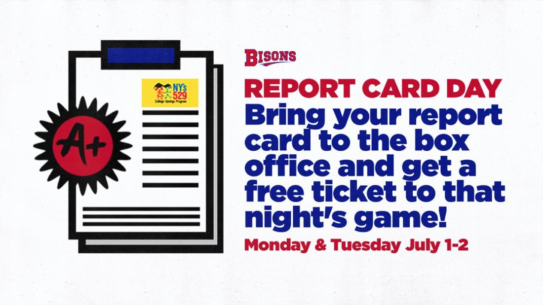 Buffalo Bisons Baseball Report Card Day FREE Tickets