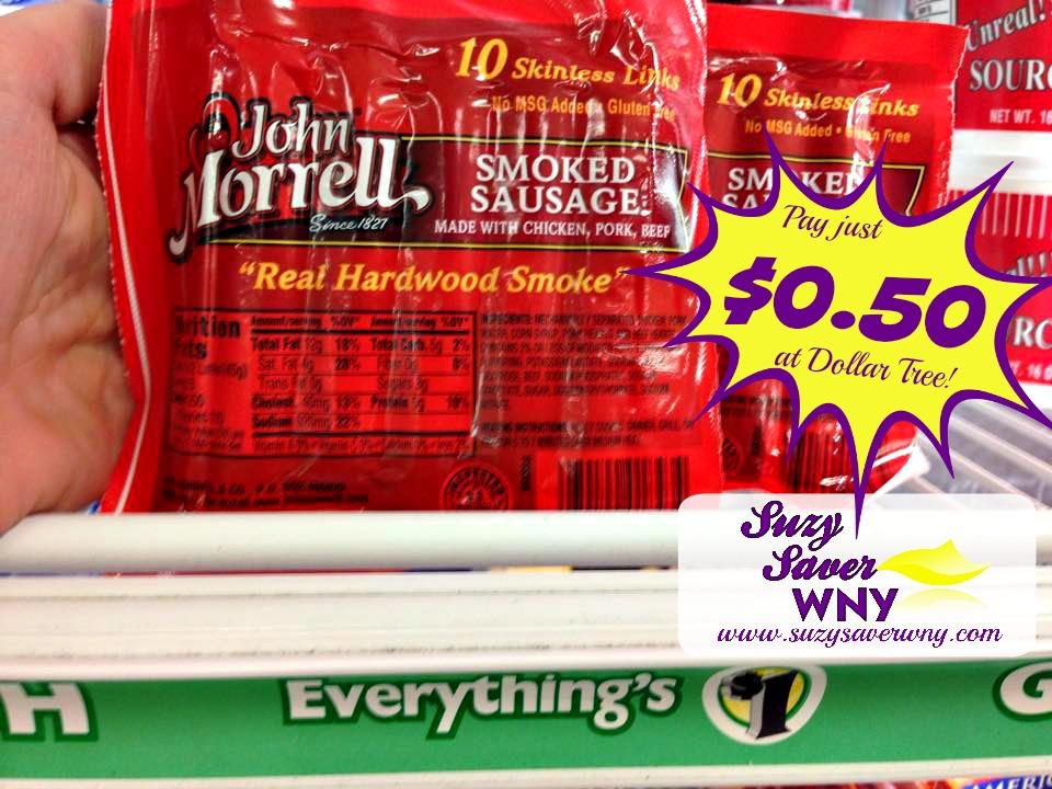 John Morrell Sausage Dollar Tree Deal $0.50 Suzy Saver WNY