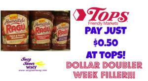 Ragu Homestyle Pasta Sauce Tops Markets Deal $0.50 8.7.16 August 2016 Dollar Doubler Week Suzy Saver WNY