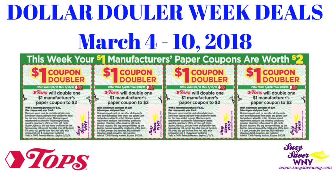 Tops Markets Deals March 4 10 2018 Dollar Doubler Week