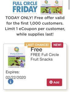 Tops Markets FREEBIE FRIDAY FREE Full Circle Organic Fruit Snacks