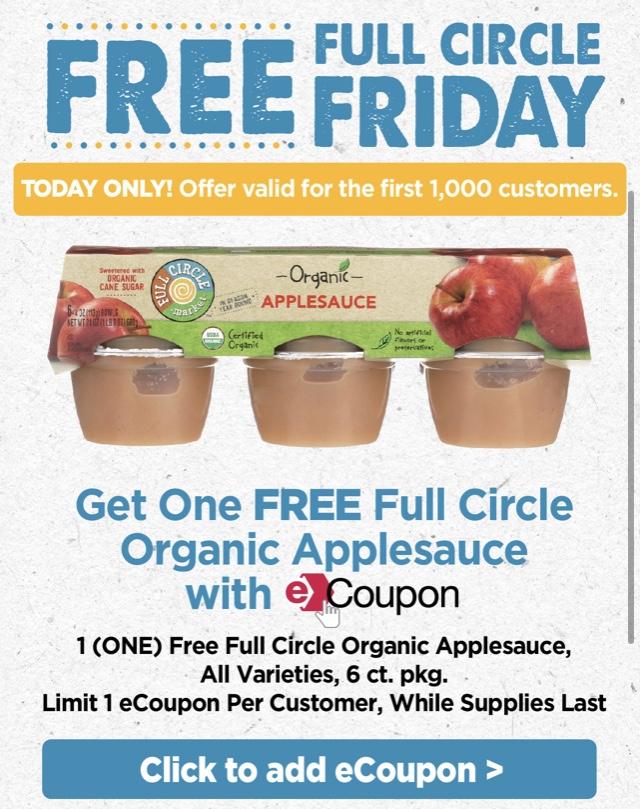 FREEBIE Full Circle Friday Organic Applesauce